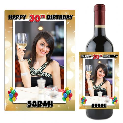 Personalised Gold Sparkle Happy 18th 21st 30th 40th 50th Birthday Wine / Champagne Bottle PHOTO Label N87 - ANY AGE!